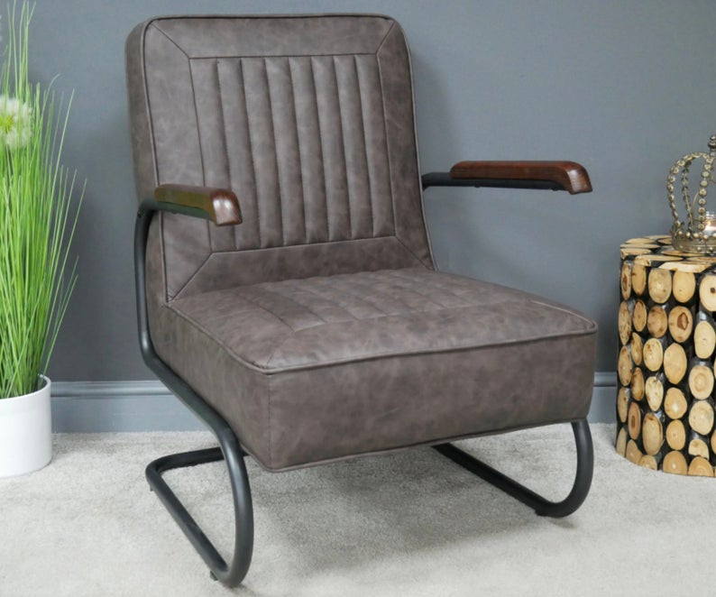 Industrial Armchair Real Grey PU Leather Lounge Living Room Sofa - uniquehomefurnituree