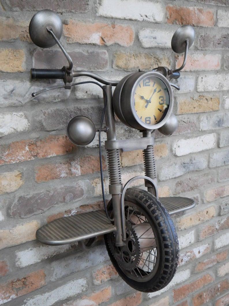 Industrial Wall Clock Motorbike - uniquehomefurnituree