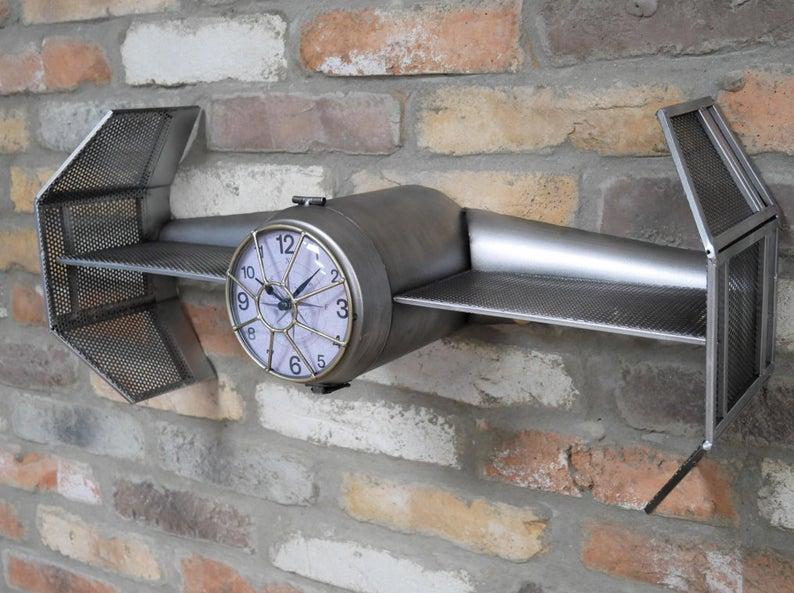 Industrial Wall Clock Vintage Retro Storage Shelf Unit Spaceship Star Wars - uniquehomefurnit