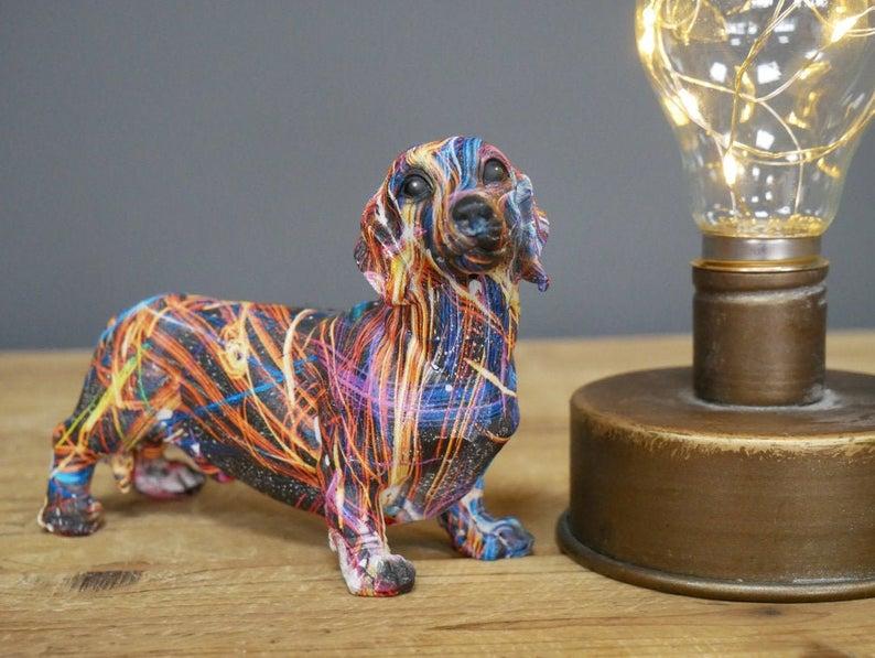 Mini Dog Ornament Sausage Painted Colourful Statue Vintage Retro Resin - uniquehomefurnituree