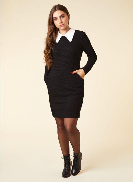 Bishop Contrast Collar Black Dress - Joanie