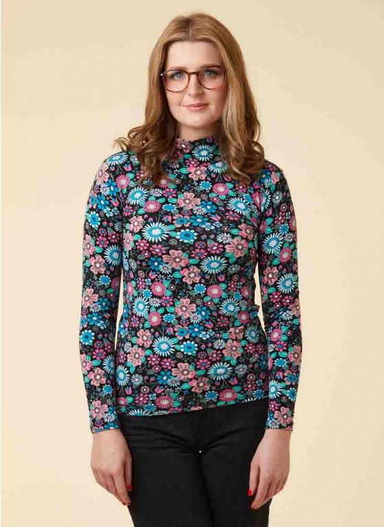 Selina Floral Print High Neck Stretch Jersey Top - Joanie